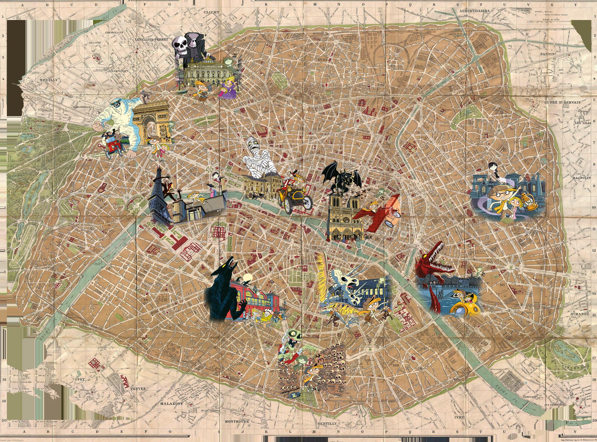 Plan de Paris ancien avec tomes de la série Les aventures fantastiques de Sacré Cœur